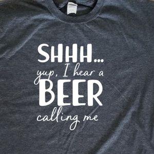 I Hear a Beer Calling Me unisex grey comfy t-shirt